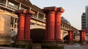 the pillars of an old Thames bridge demolished long ago